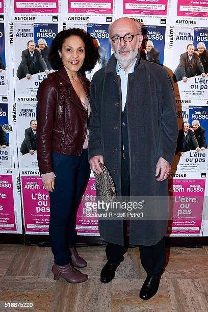 Director Bertrand Blier and his wife actress Farida Rahouadj attend the L'Etre ou pas Theater play at Theatre Antoine on March 21 2016 in Paris France