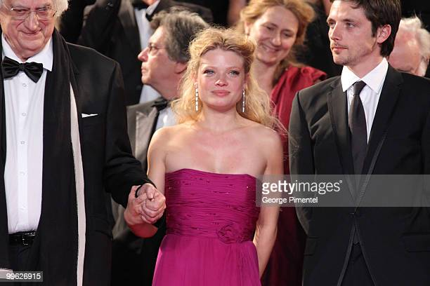 Director Bertrand Tavernier actress Melanie Thierry and actor Raphael Personnaz attend the 'The Princess of Montpensier' Premiere held at the Palais...