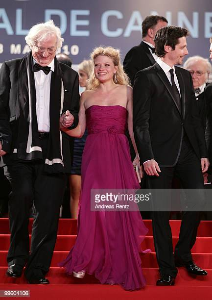 Director Bertrand Tavernier and actors Gregoire LeprinceRinguet and Melanie Thierry departs The Princess Of Montpensier Premiere Premiere at the...
