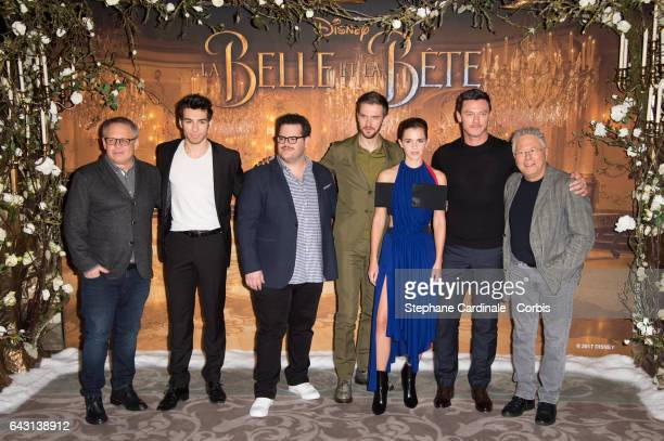 Director Bill Condon Actors Alexis Loizon Josh Gad Dan Stevens Emma Watson Luke Evans and composer Alan Menken attend the 'Beast And Beauty La Belle...