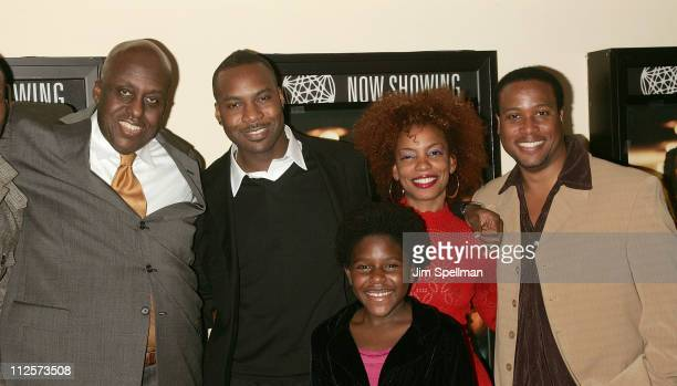 "Director Bill Duke, Actors Raz Adoti, Tomorrow Montgomery, Aunjanue Ellis and Clayton Prince arrive at the ""Cover"" Premiere at the Village East..."
