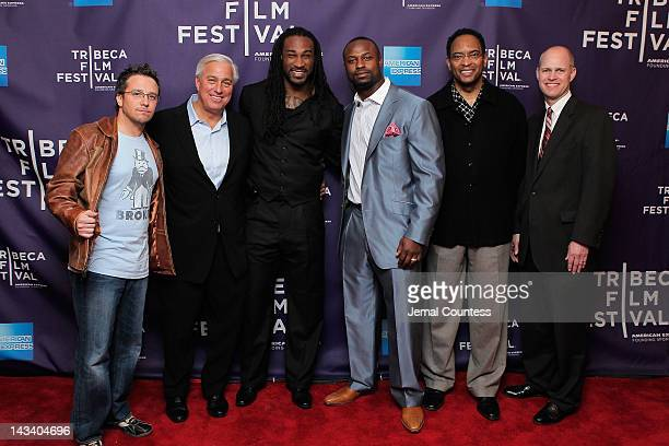 Director Billy Corben Ed Butowsky Isaiah Stanback NFL player Bart Scott former NFL player Reggie Wilkes and John Dahl attend the Broke Premiere...