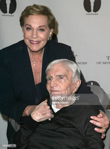 Director Blake Edwards poses with actress and wife Julie Andrews at Academy Of Motion Picture Arts And Sciences' Evening With Blake Edwards on...