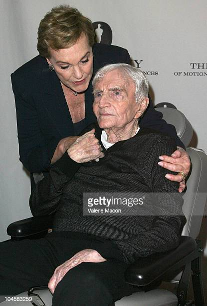 Director Blake Edwards poses with actress and wife Julie Andrewsat Academy Of Motion Picture Arts And Sciences' Evening With Blake Edwards on...
