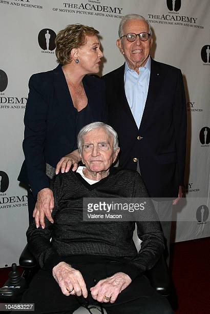 Director Blake Edwards poses with Julie Andrews and Walter Mirisch at Academy Of Motion Picture Arts And Sciences' Evening With Blake Edwards on...