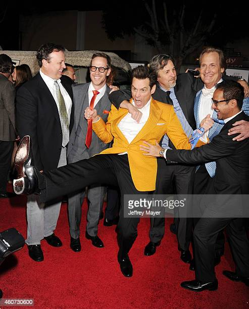 Director Bobby Farrelly producer Joey McFarland actor Jim Carrey director Peter Farrelly actor Jeff Daniels producer Riza Aziz arrive at the Los...