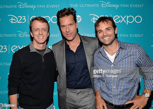 Director Bobs Gannaway actor Dane Cook and producer Ferrell Barron of 'Planes Fire Rescue' attend 'Art and Imagination Animation at The Walt Disney...