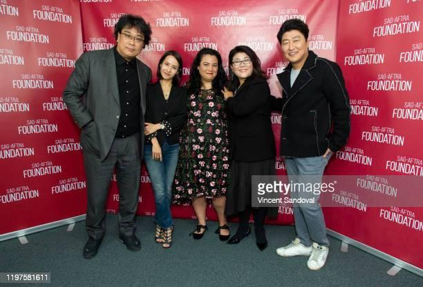 Director Bong Joon Ho Actress Cho Yeo Jeong Jenelle Riley of Variety and Actors Lee Jung Eun and Song Kang Ho attend SAGAFTRA Foundation...