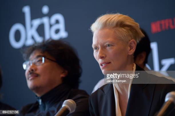 Director Bong Joon Ho and Actress/CoStar Tilda Swinton speak during the Okja Press Conference New York at Mandarin Oriental Hotel on June 9 2017 in...