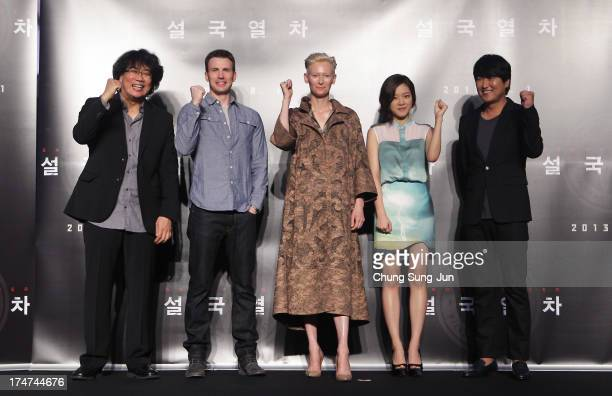 Director Bong JoonHo actor Chris Evans actress Tilda Swinton Ko ASung and actor Song KangHo the 'Snowpiercer' press conference at Conrad Hotel on...