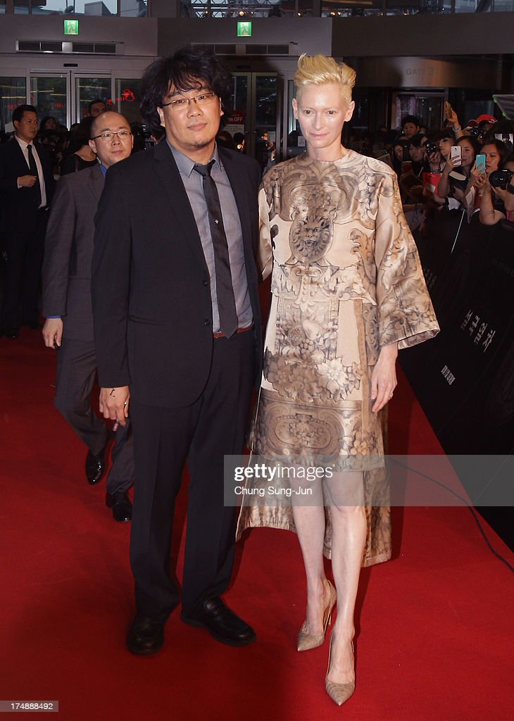 Director Bong Joon-Ho and actress Tilda Swinton attend the 'Snowpiercer' South Korea premiere at Times Square on July 29, 2013 in Seoul, South Korea. The film will open in South Korea on August 1.