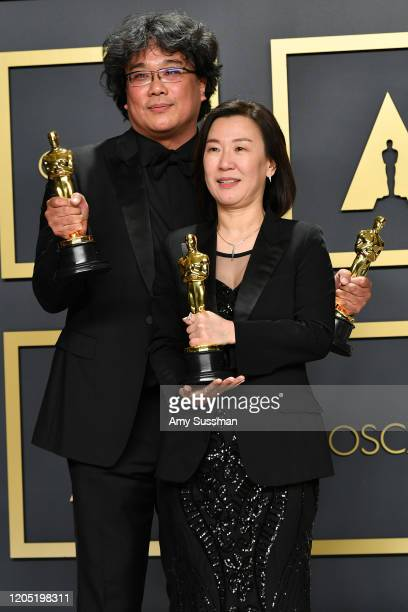 Director Bong Joonho and producer Kwak Sinae winners of the Original Screenplay International Feature Film Directing and Best Picture awards for...