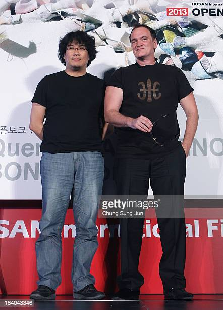 Director Bong JoonHo and Quentin Tarantino attend the Open Talk at the Busan Cinema Center Square Outdoor Stage during the 18th Busan International...