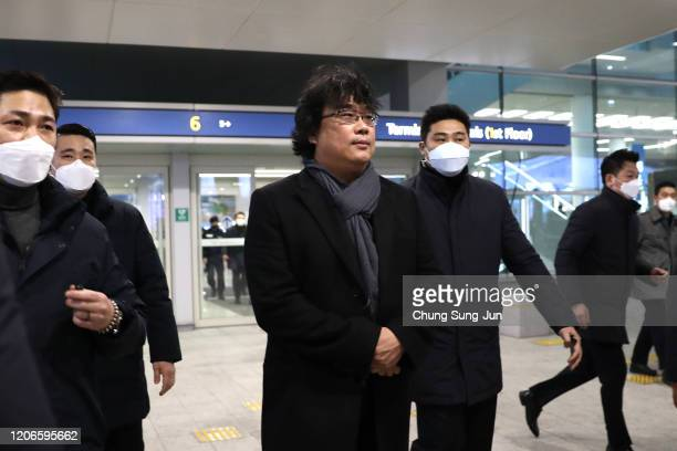 Director Bong Joonho arrives at Incheon International Airport on February 16 2020 in Incheon South Korea South Korean director Bong's film Parasite...