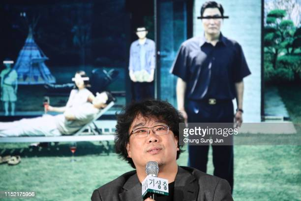 Director Bong JoonHo attends the press conference for Parasite on May 28 2019 in Seoul South Korea