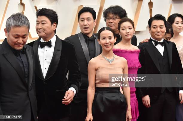 Director Bong Joonho with cast and crew of Parasite attend the 92nd Annual Academy Awards at Hollywood and Highland on February 09 2020 in Hollywood...