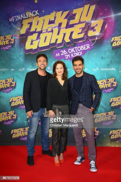 Director Bora Dagtekin Actor Elyas M'Barek and Producer Lena Schoemann attends the 'Fack ju Goehte 3' premiere at CineStar on October 28 2017 in...