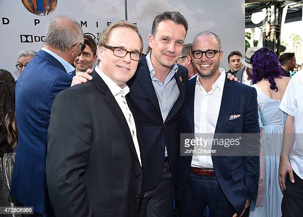 Director Brad Bird President of Walt Disney Studios Motion Picture Production Sean Bailey and producer/writer Damon Lindelof attend the premiere of...