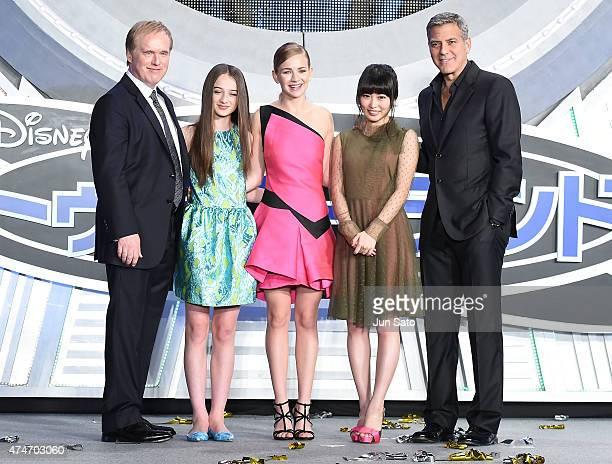 "Director Brad Bird, Raffey Cassid, Britt Robertson, Mirai Shida and George Clooney attend the Tokyo premiere of ""Tomorrowland"" at Roppongi Hills on..."