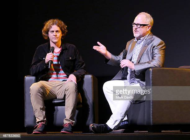 Director Brandon Oldenburg and Writer William Joyce speaks onstage before the screening of 'Pinocchio' during day two of the 2015 TCM Classic Film...
