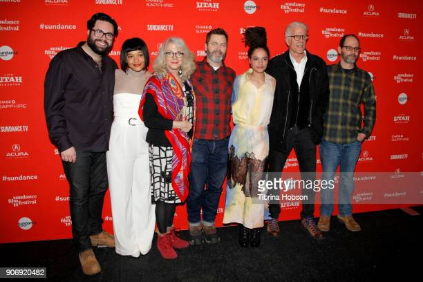 Director Brett Haley Actors Kiersey Clemons Nick Offerman Sasha Lane Ted Danson and CoWriter Marc Basch attends the Volunteer Screening Of 'Hearts...