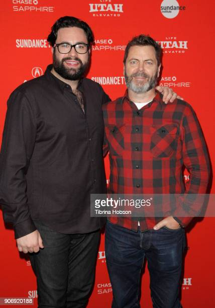 Director Brett Haley and Actor Nick Offerman attend the Volunteer Screening Of 'Hearts Beat Loud' Premiere during the 2018 Sundance Film Festival at...