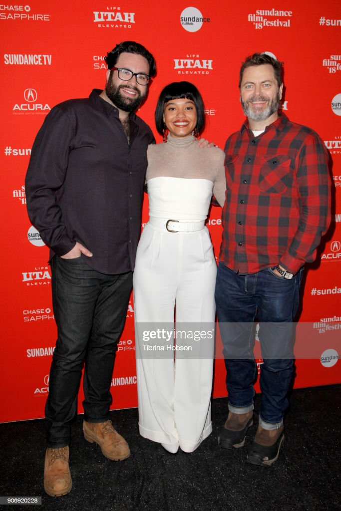 Director Brett Haley, Kiersey Clemons and Actor Nick Offerman attend the Volunteer Screening Of 'Hearts Beat Loud' Premiere during the 2018 Sundance Film Festival at Park City Library on January 18, 2018 in Park City, Utah.