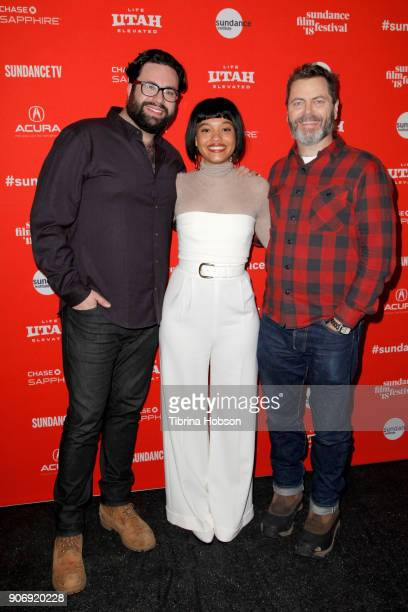 Director Brett Haley Kiersey Clemons and Actor Nick Offerman attend the Volunteer Screening Of 'Hearts Beat Loud' Premiere during the 2018 Sundance...
