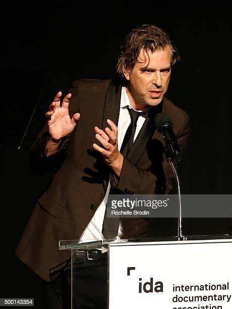 Director Brett Morgen accepts the Best Editing Award at the 2015 IDA Awards at Paramount Studios on December 5 2015 in Hollywood California
