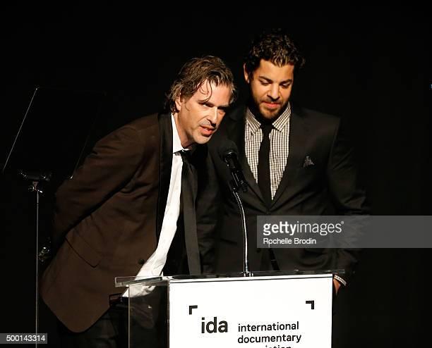 Director Brett Morgen and Joe Beshenkovsky accepts the Best Editing Award at the 2015 IDA Awards at Paramount Studios on December 5 2015 in Hollywood...