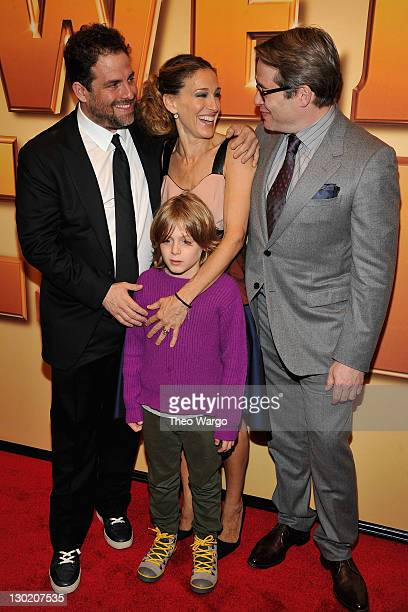 Director Brett Ratner actress Sarah Jessica Parker James Wilkie Broderick and actor Matthew Broderick attend the world premiere of Tower Heist at the...