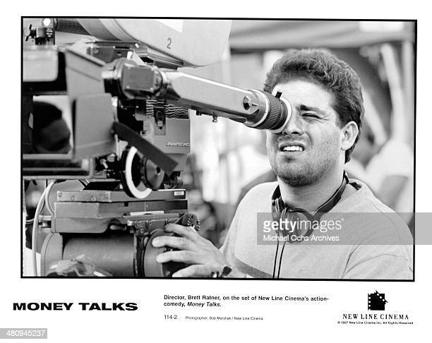 Director Brett Ratner behind the camera on the set of the movie 'Money Talks ' circa 1997