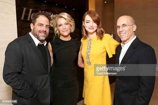 Director Brett Ratner Honoree Megyn Kelly actress Emma Stone and CEO of DreamWorks Animation Jeffrey Katzenberg attend The Hollywood Reporter's...