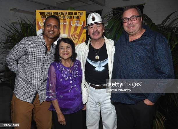 Director Brian Bratt Delores Heurta and Producers Carlos Santana and Brian Benson attend the 'Dolores' New York Premiere after party at The...