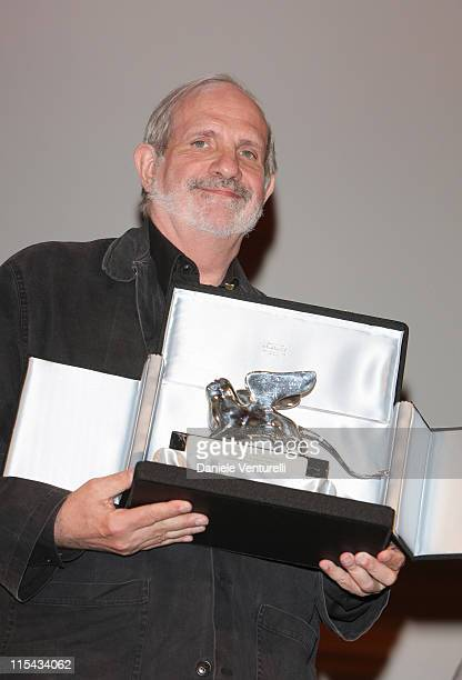 Director Brian de Palma collects the Silver Lion award for his film Redacted at the Leone d'Oro del 75th closing ceremony in Venice during day 11 of...