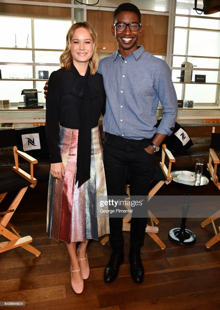 Director Brie Larson and actor Mamoudou Athie attend Nespresso coffee with creators of 'Unicorn Store' on September 11, 2017 in Toronto, Canada.