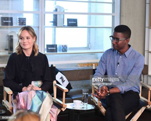 Director Brie Larson and actor Mamoudou Athie attend Nespresso coffee with creators of Unicorn Store on September 11 2017 in Toronto Canada