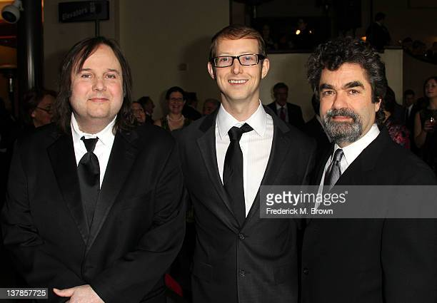 Director Bruce Sinofsky documentary subject Jason Baldwin and director Joe Berlinger arrive at the 64th Annual Directors Guild Of America Awards held...