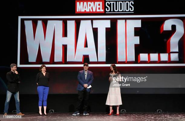 Director Bryan Andrews and Head writer A.C. Bradley of 'What If...?' and President of Marvel Studios Kevin Feige and Hayley Atwell of 'What If...?'...
