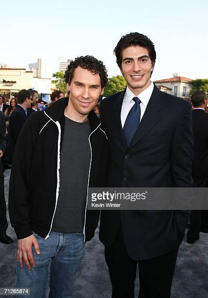 Director Bryan Singer and actor Brandon Routh arrive at the Warner Bros premiere of Superman Returns held at the Mann Village Theater on June 21 2006...