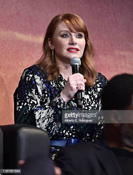 Director Bryce Dallas Howard speaks onstage at the premiere of Lucasfilm's firstever liveaction series The Mandalorian at the El Capitan Theatre in...
