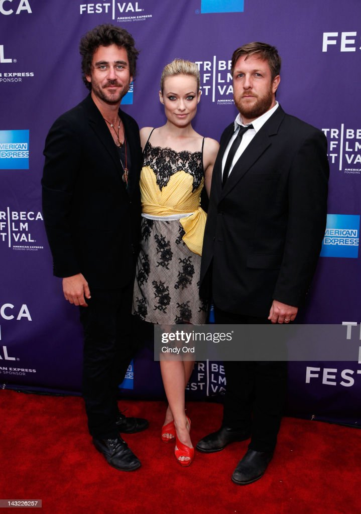 Director Bryn Mooser, executive producer Olivia Wilde and director David Darg of the film 'Baseball in the Time of Cholera' attend 'Help Wanted' Shorts Program during the 2012 Tribeca Film Festival at the AMC Lowes Village on April 21, 2012 in New York City.