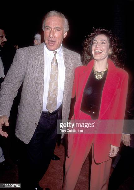Director Bud Yorkin and actress Cynthia Sikes attend the For the Boys Beverly Hills Premiere on November 14 1991 at Academy Theatre in Beverly Hills...