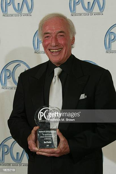 Director Bud Yorkin poses backstage at the14th Annual Producers Guild Awards at the Century Plaza Hotel on March 2 2003 in Los Angeles California...