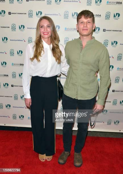 Director Caitlyn Sponheimer and Paul Zinnoi from short film 'Kitty's Naughty Knickers' are seen during 37th Annual Miami Film Festival presented by...