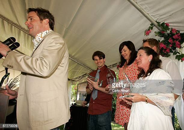 Director Cameron Watson speaks as actors Jason Ritter Allison Janney and Mary Badham hold their awards at the Luncheon Under The Banyans during the...
