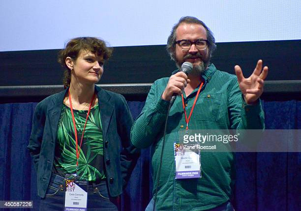 Director Cara Connolly and director Martin Clark speak onstage at the Shorts Program 1 during the 2014 Los Angeles Film Festival at Regal Cinemas LA...