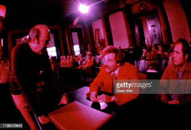 Director Carl Reiner actor George Segal and actor Rob Reiner on the set of the movie Where's Poppa in May 1970 in Long Island New York Shot with...