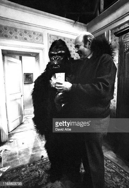 Director Carl Reiner and Ron Leibman playing a gorilla on the set of the movie Where's Poppa in May 1970 in Long Island New York