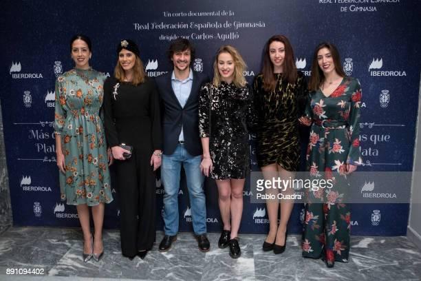 Director Carlos Agullo and Spanish rhythmic gymnasts Alejandra Quereda Lourdes Mohedano Elena Lopez Sandra Aguilar and Artemi Gavezou present 'Mas...